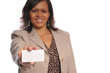 businesscard:  african-american woman holding a blank businesscard on a white background