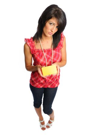 back to school with an attractive hispanic woman holding an index cardl on a white background