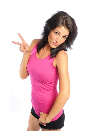 attractive young hispanic woman peace sign on white background Banco de Imagens
