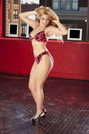 Woman in print underwear shot in glamour style