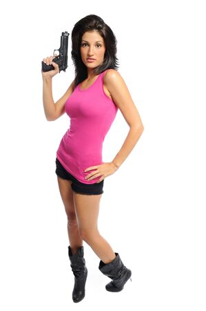 attractive young hispanic woman on a white back ground holding a pistol
