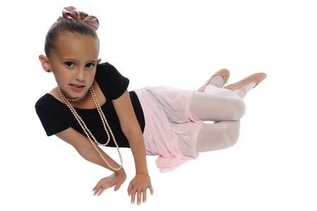 cute young girl posing in a dance costume on a white background Banco de Imagens - 8140540