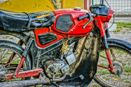 close-up of an old kreidler florett motorbike  picture taken in HDR photo