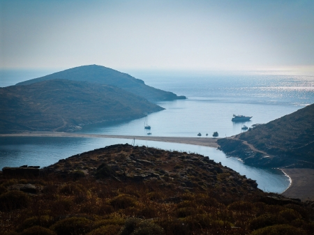 isthmus: sandy isthmus is connecting two greek island (Kythnos) in the Aegean sea