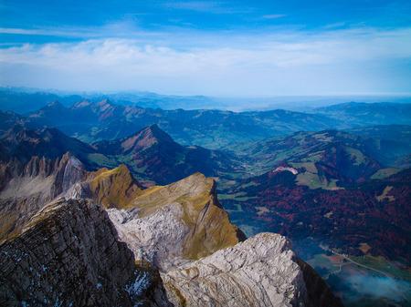 st gallen: panoramic view from mountain Säntis in Switzerland. looking over Canton St. Gallen