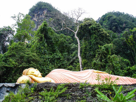 reclining: big golden buddha statue is reclining in the jungle Stock Photo