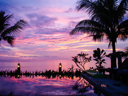koh kho khao: colorful sunset over the Andaman Sea in Khao Lak, Thailand  view from pool bar