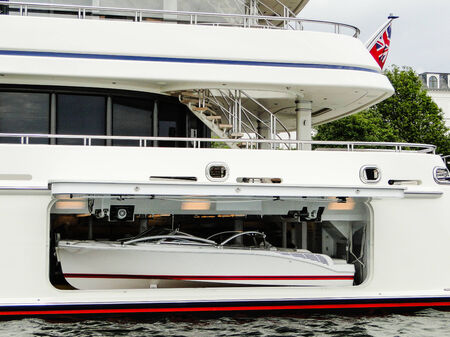 super yacht: ships boat of a super yacht  picture taken in Copenhagen Stock Photo
