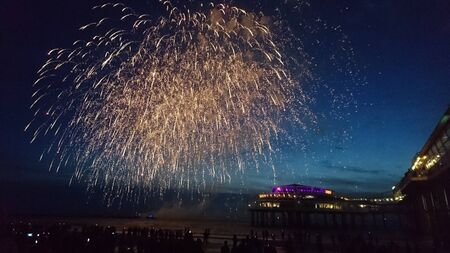Fireworks above Scheveningen beach Stock Photo