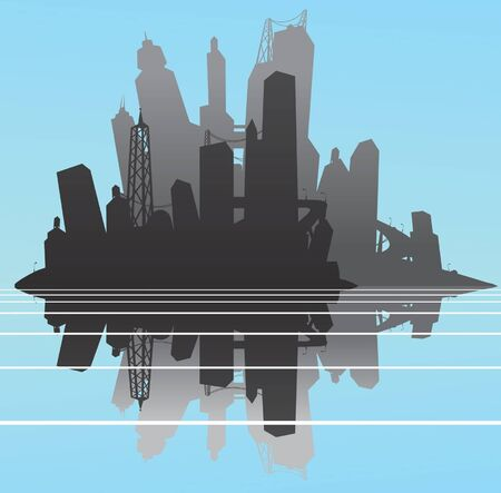 Cityscape silhouette with reflection