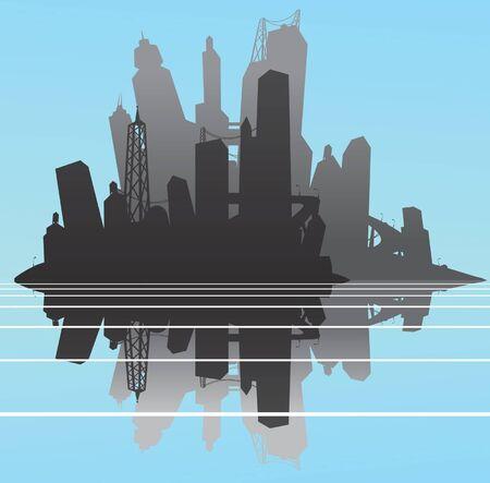 Cityscape silhouette with reflection Reklamní fotografie - 14088232