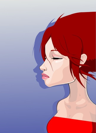 Girl with eyes closed Stock Vector - 14088229