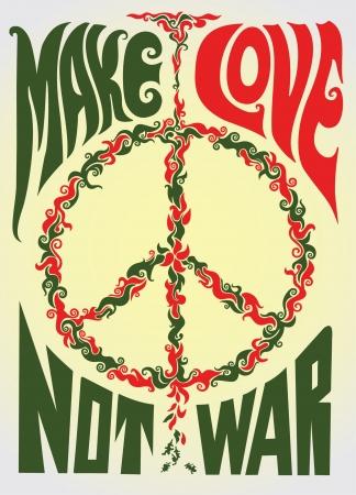 hacer el amor: Haz el amor y no la guerra hippie ilustración Vectores