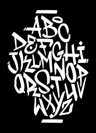 손 낙서 글꼴 알파벳을 작성합니다. 벡터