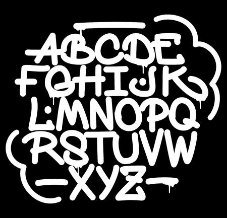Hand style graffiti font alphabet. Vector Illustration