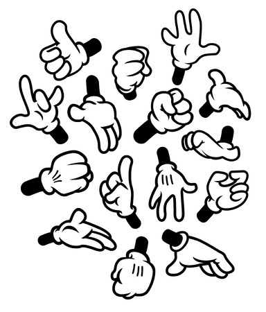 Cartoon hands gestures Vettoriali