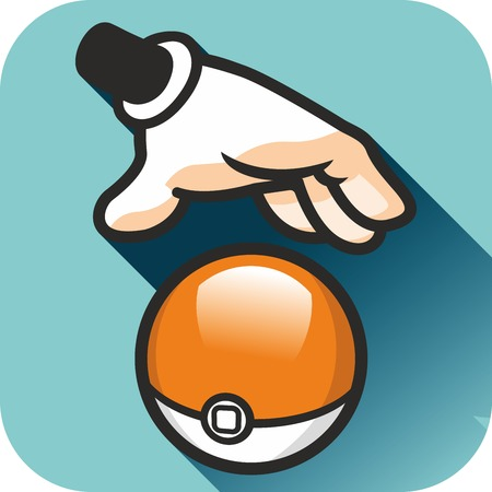 cartoon ball: Hand and ball. Pokemon gotta catch em all