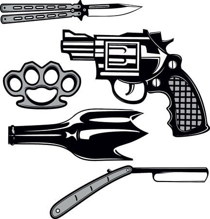 Street crime tools set. Hooligan weapons Stock Illustratie