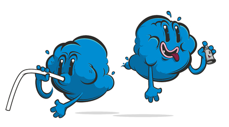 Funny cloud cartoon monsters in blue colour Illustration