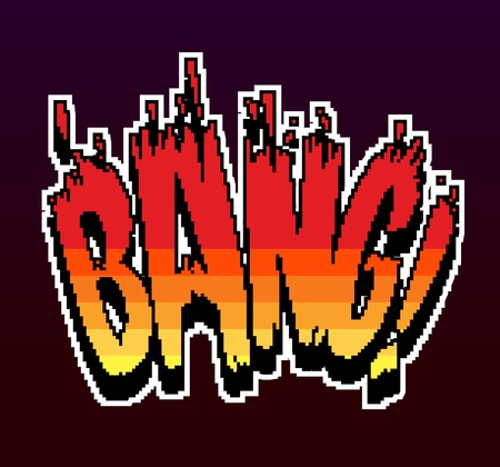 bang: Retro game pixel explosion bang 8 bit