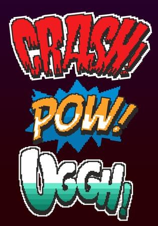 Retro game pixel words 8 bit