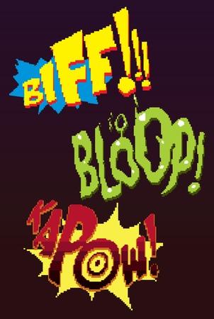 Pixel words. Retro game 8 Bit