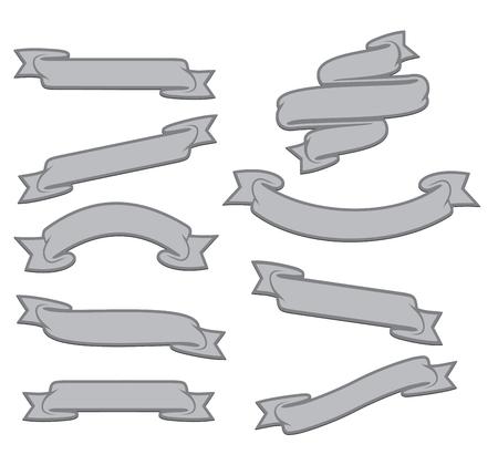 Decorative tatoo ribbons set. Vector