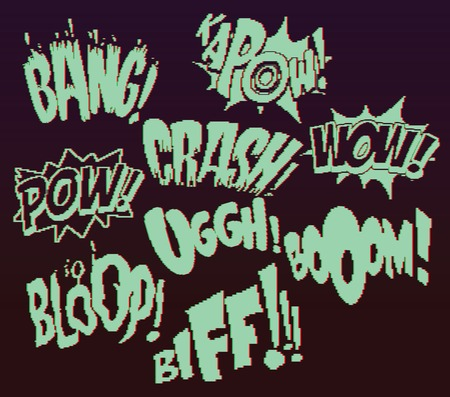 kapow: Glitch retro game pixel words 8 bit Illustration