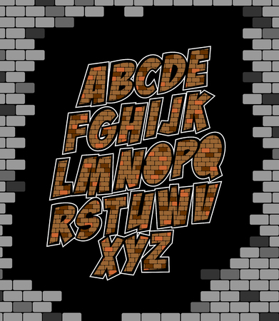 Cool vector alphabet made of bricks