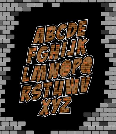 Cool vector alphabet made of bricks