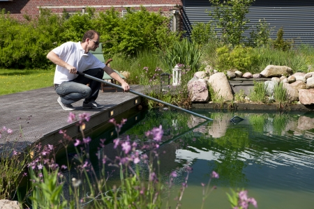 man cleanse his garden pond with a landing net, perches on a terraced wood, stones and bushes in background Stock fotó