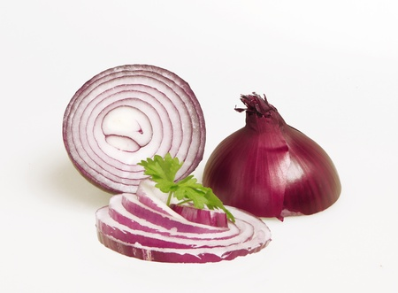 menue: sliced   8203;  8203;red onion and sliced Stock Photo