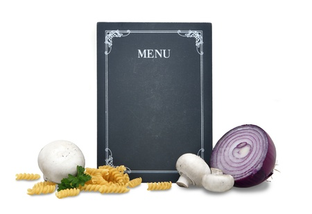 a black used blackboard with the text menu on a white mask background, noodles and mushrooms photo