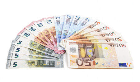 euromoney: different euro bank notes fanned side by side, white background Stock Photo