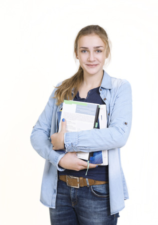 vocational high school: preteen girl with books. standing white background