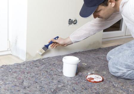 Painter paints damp walls in an apartment with a special color