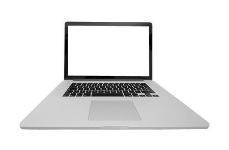 exempted: laptop with white screen exempted from the front, fisheye Stock Photo