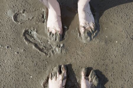 the wadden sea: four bare feet while walking in the Wadden Sea North Sea Stock Photo