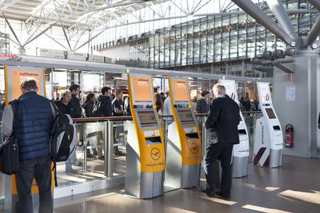 automatic check in desk Lufthansa at Hamburg Airport
