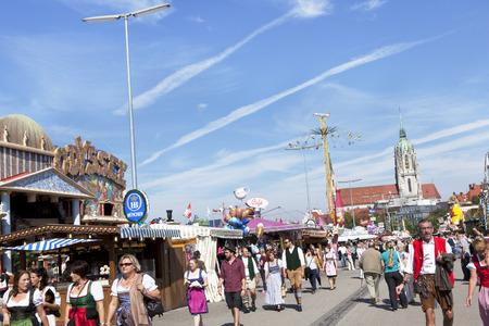 beerfest: Visitors walk in fine weather on the Wiesn Octoberfest