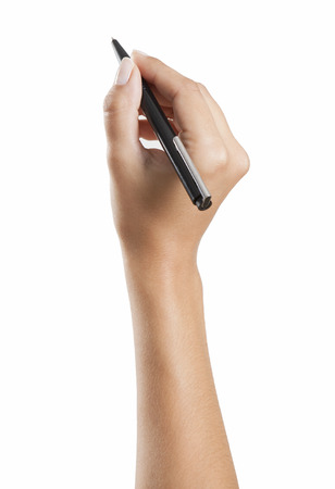 hand with pencil: Woman hand writing with a pen, background white, isolated Stock Photo