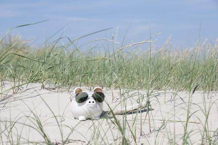 holiday profits: A white piggy bank in the dunes on the beach wearing sunglasses
