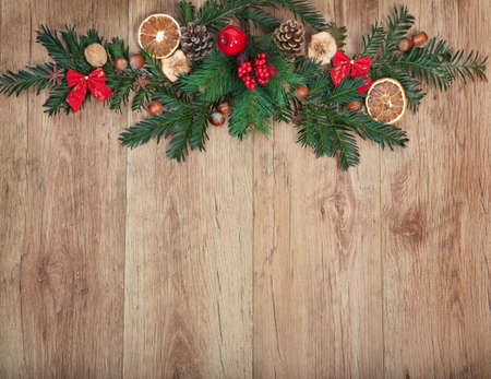 wall decoration: Christmas decoration on a wood background with copy space