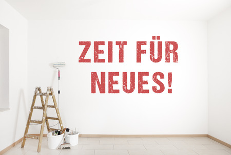 the text time for new service is painted on a wall with ladder and painting tools