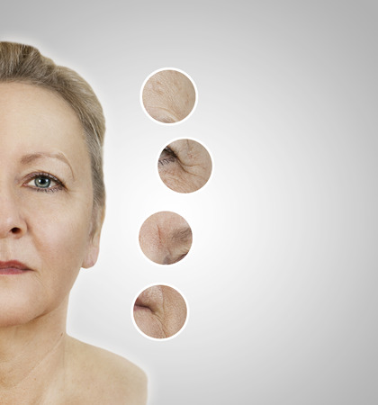 the face of an old woman. as collage with smoothed areas