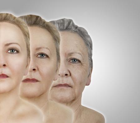 un volto di donna giovane e invecchiato