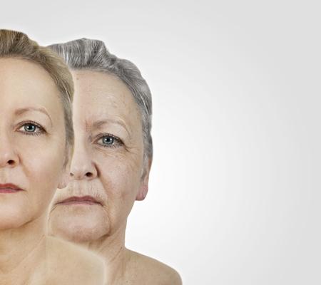 een vrouw van jonge en oude gezicht Stockfoto