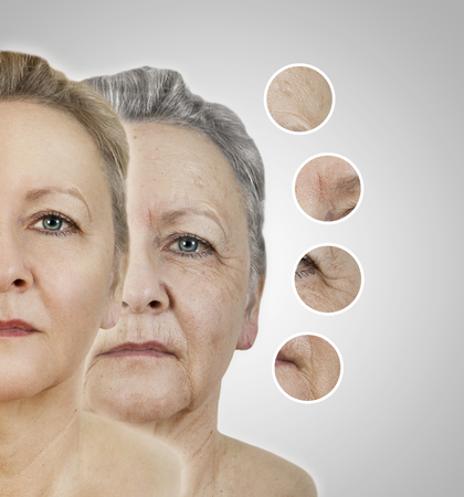 het gezicht van een oude vrouw als collage met afgevlakte gebieden Stockfoto