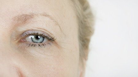 eyelids: the eye of an elderly woman with wrinkles