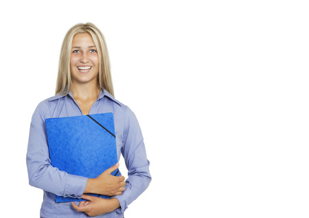a blonde laughing woman with a blue application folder in her hand, isolated against a white background